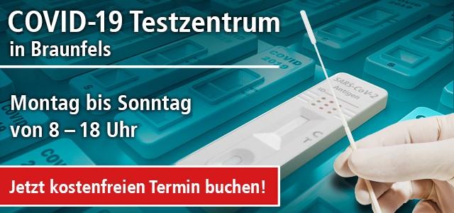 Terminbuchung und Öffnungszeiten COVID-19 Testzentrum in Braunfels im Haus des Gastes