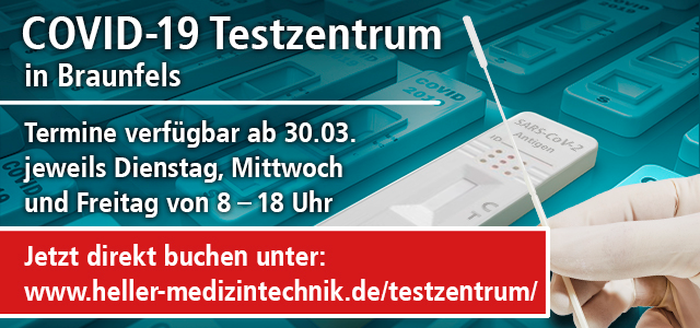 COVID-19 Testzentrum in Braunfels, Termine ab dem 30.03.21