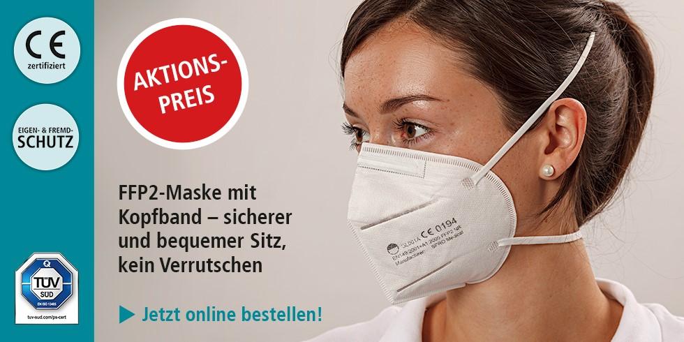 FFP2-Maske mit Kopfband - sicherer und bequemer Sitz, kein Verrutschen