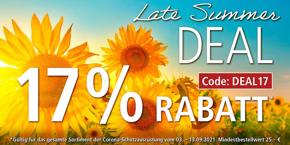 LATE SUMMER DEAL - 17% Rabatt auf das gesamte Sortiment der Corona-Schutzausrüstung, Code: DEAL17, 03.09.-13.09.2021, HELLER MEDIZINTECHNIK