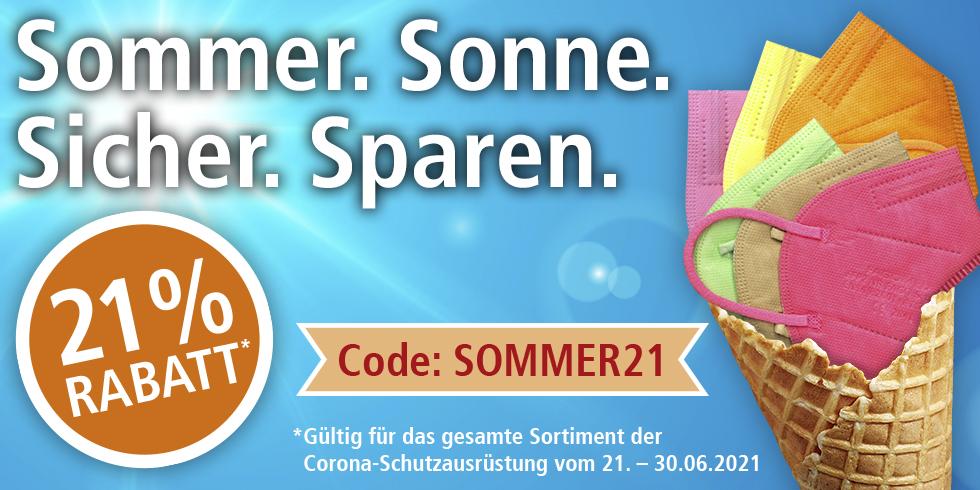 Sommer. Sonne. Sicher. Sparen. 21% Rabatt auf das gesamte Sortiment der Corona-Schutzausrüstung, Code: SOMMER21, 21.06.-30.06.2021, HELLER MEDIZINTECHNIK