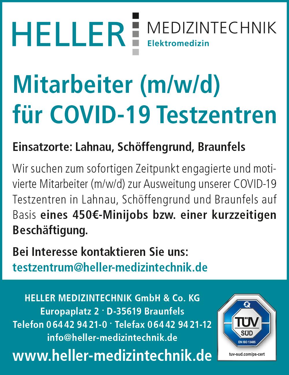 Mitarbeiter (m/w/d) für COVID-19 Testzentren gesucht mit Einsatzort Braunfels, Lahnau und Schöffengrund
