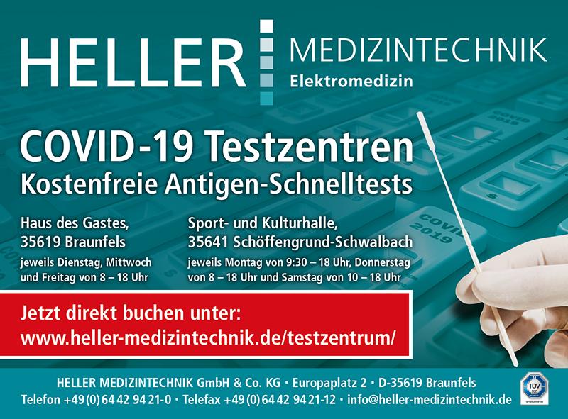 Anzeige aus Wetzlarer Neue Zeitung und Kompakt!: COVID-19 Testzentren in Braunfels und Schöffengrund-Schwalbach