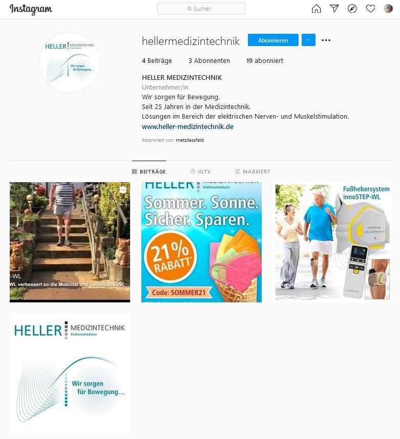 Screenshot vom Instagram-Account von HELLER MEDIZINTECHNIK