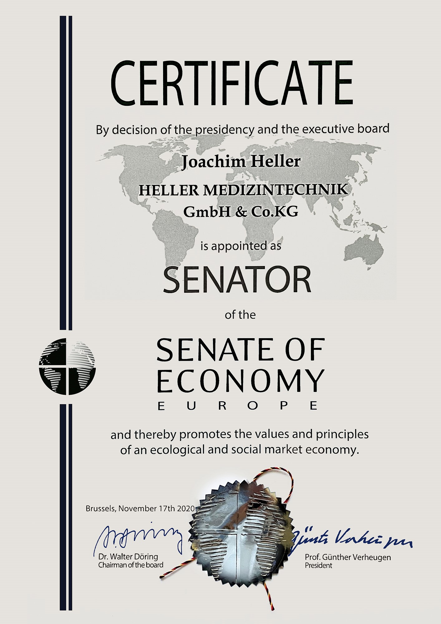 Joachim Heller | Geschäftsführer von HELLER MEDIZINTECHNIK GmbH & Co. KG | Zertifikat: SENATOR of the SENATE OF ECONOMY EUROPE