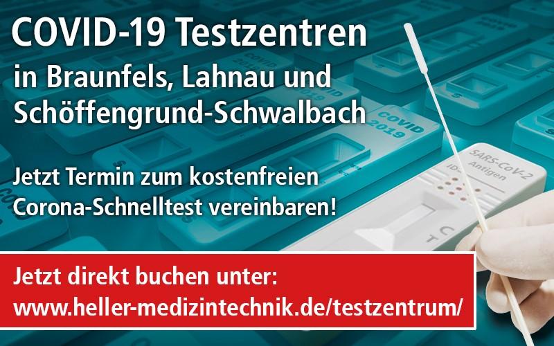 Terminbuchung im COVID-19 Testzentrum Braunfels, Lahnau oder Schöffengrund
